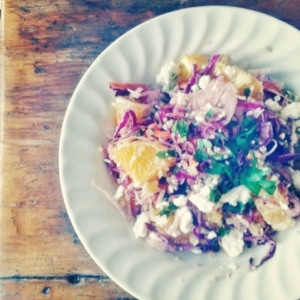 Quinoa Coleslaw Salad with Orange, Feta and Parsley